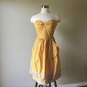 Anthro Girls from Savoy Yellow Strapless Dress
